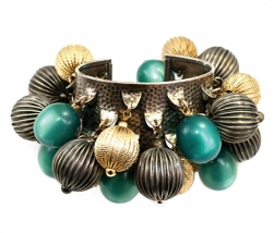 Napier Cuff Bracelet with Moonglow and Textured Melon-Shaped Dangles