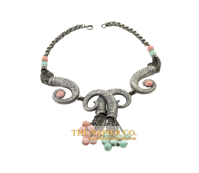 Napier necklace, c. 1950s, ram motif