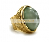 Napier fashion ring with oval faux jade cabochon