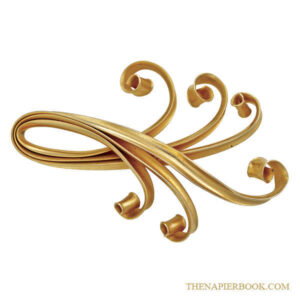 Napier 1950s Huge Asian-inspired Goldtone Brooch