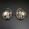 Back view Napier Repousse Silver-plated Faux Lapis Earrings