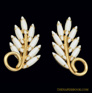 Napier Milkglass Rhinestone Earrings