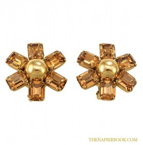 Gorgeous Napier 1960s Topaz-colored Rhinestone Earrings