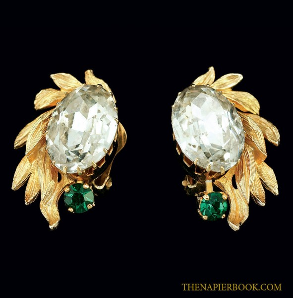 Beautifully Carved Napier Rhinestone Earrings
