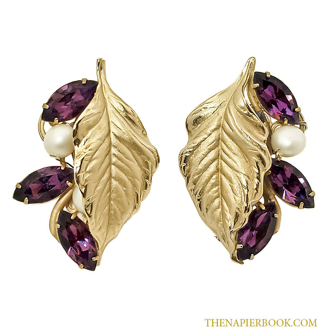 Napier Vintage Amethyst and Pearl Frosted Leaves Earrings