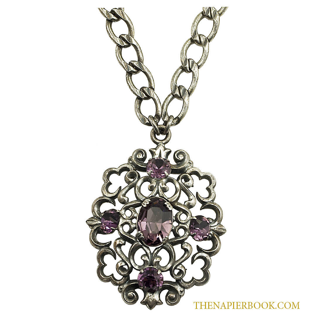 Vintage napier silver plated pendant and chain necklace amethyst rhinestones vintage napier silver plated pendant and chain necklace amethyst rhinestones aloadofball Image collections