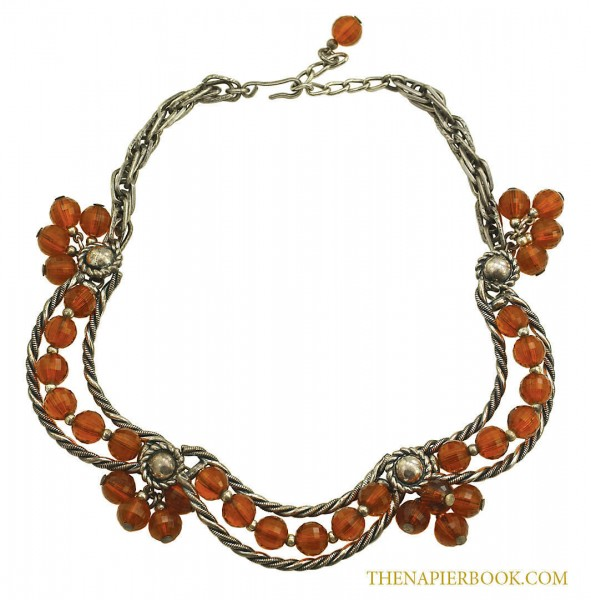 Vintage 1950s Napier Topaz-Colored Bead Swag Necklace
