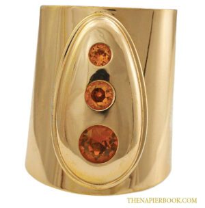 Vintage Napier 1970s Wide Cuff With Amber-colored Rhinestones