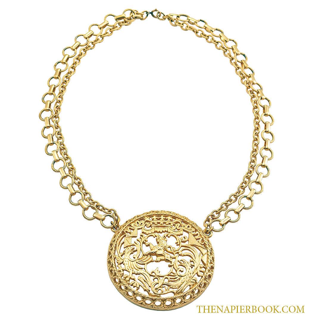 Napier Open Metalwork Heraldic Necklace