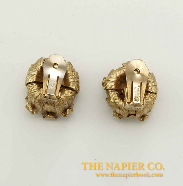 Large 1950s Napier Floral Rhinestone Earrings Back View