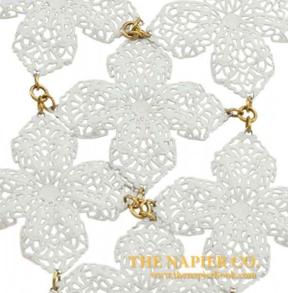 Huge Vintage Napier 1970s White Enamel Necklace Close-Up