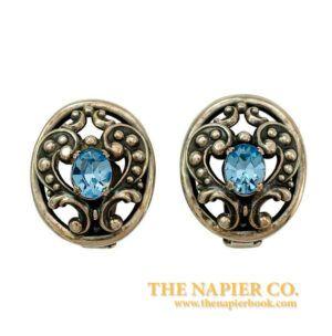 Napier 1950s Open Metalwork Sapphired-Colored Rhinestones