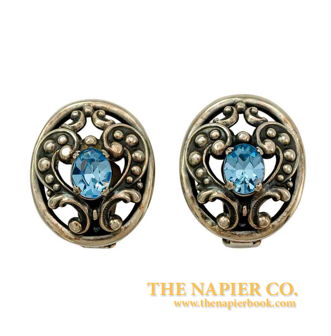 Napier 1950s Open Metalwork Sapphired-Colored Rhinestones