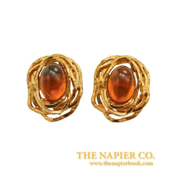 "Vintage Napier ""Bird's Nest"" Topaz-colored Cabochon Earrings"