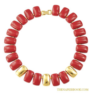 "Napier Red Enamel Necklace ""Pacific"" Collection"