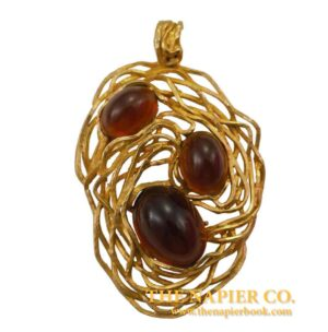 "Vintage Napier ""Bird's Nest"" Topaz-colored Cabochon Pendant Necklace"