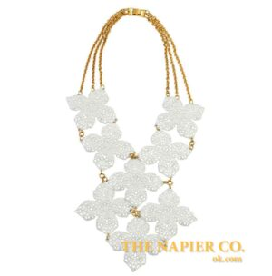 Huge Vintage Napier 1970s White Enamel Necklace