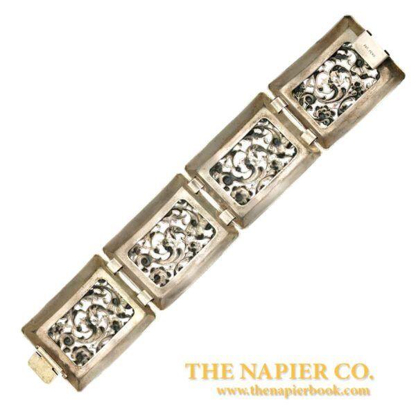 Fabulous Vintage Napier Open Metalwork Link Bracelet Back View