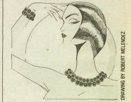 Napier Byzantium Limited Edition Collection as featured by WWD, June 29, 1990. Sketch by Robert Melendz