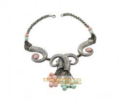 Napier necklace, c. 1950s, ram motif