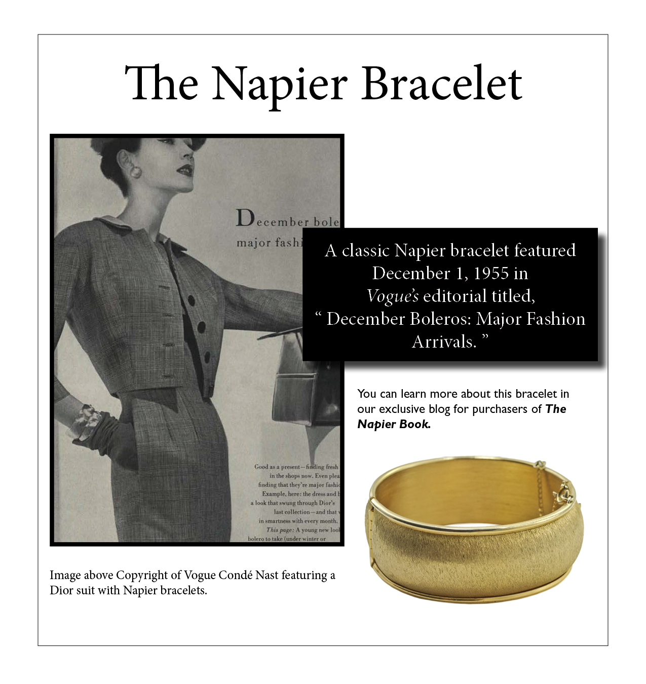 """A Napier """"Dolly Madison"""" bracelet featured in the December 1955 Vogue editorial."""
