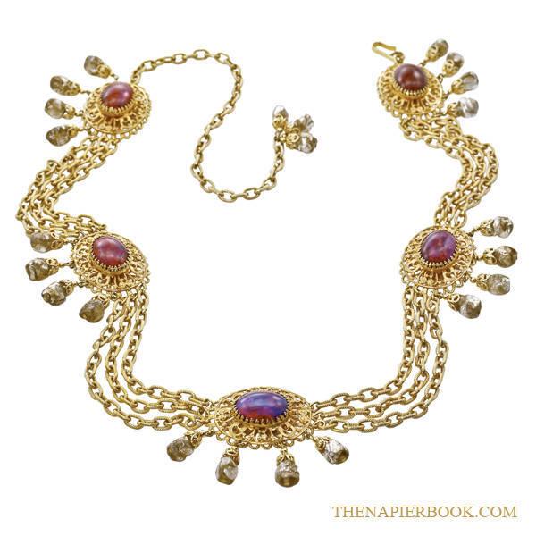Napier Bikini Belt Dragon's Breath Cabochons and Foiled Art Glass Beads