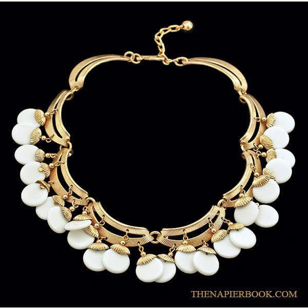 Napier 1950s Drippy Bib White Charms Necklace