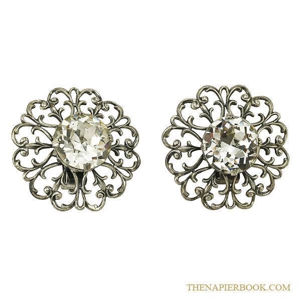 Napier Huge Filigree Rhinestone Earrings