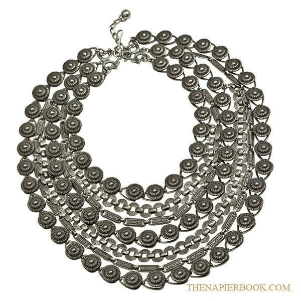 Napier Silver-Plated Multi Chain Bib Necklace