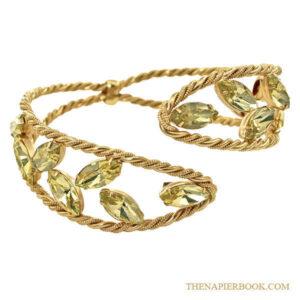 Napier 1950s Rhinestone Bypass Cuff Bracelet