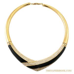 Napier Rhinestone Black Enamel Collar Necklace