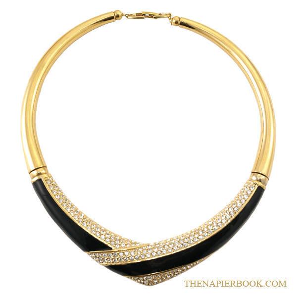 Napier Gold-plated Rhinestone & Black Enamel Collar Necklace