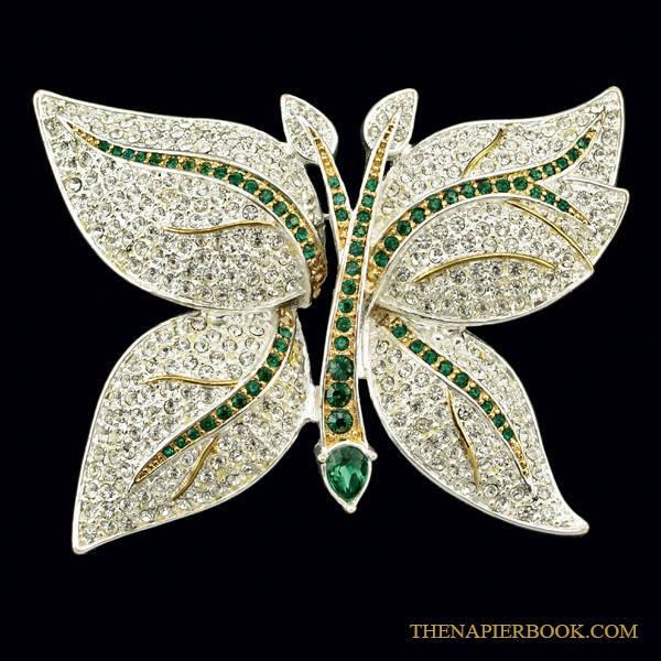 Napier Silver-plated Rhinestone Butterfly Brooch