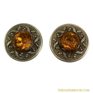 Old-World Detail Napier Silver-plated Earrings With Topaz-colored Faceted Rhinestones