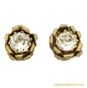 Large 1950s Napier Floral Rhinestone Earrings