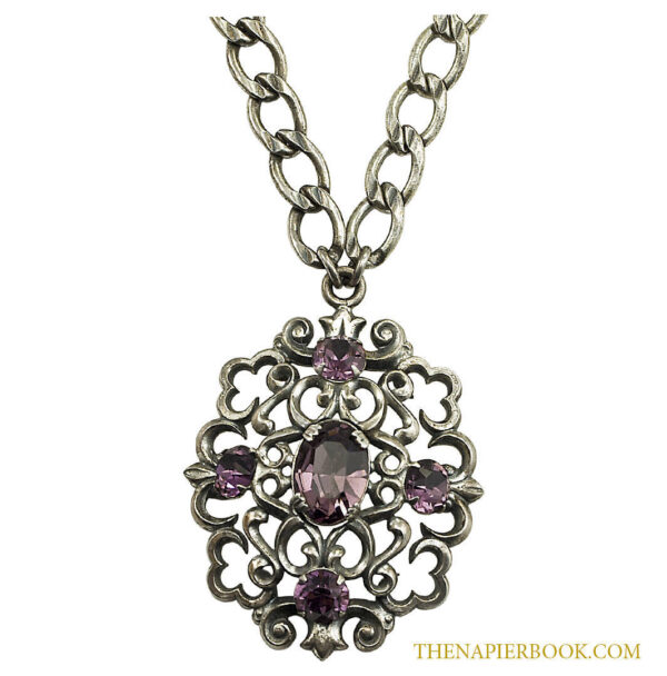 Vintage Napier Silver-plated Pendant and Chain Necklace Amethyst Rhinestones