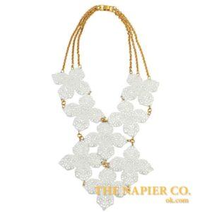 Huge Vintage Napier 1970s White Enamel Necklace