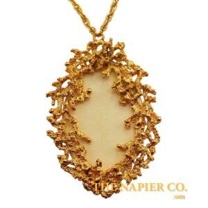 Napier Textured Oval Pendant Necklace