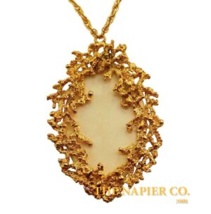 Napier Textured Oval Pendant Necklace