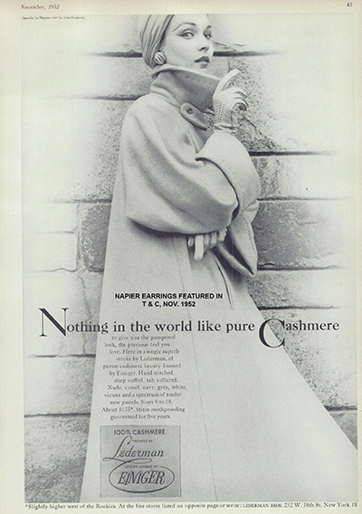 Napier earrings featured in Town and Country magazine 1952. Classic large shrimp style clip backs.