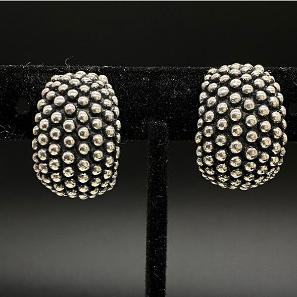 Late 1960s Napier Silver Plate Tapered Wedding Band Earrings by Francis Fujio