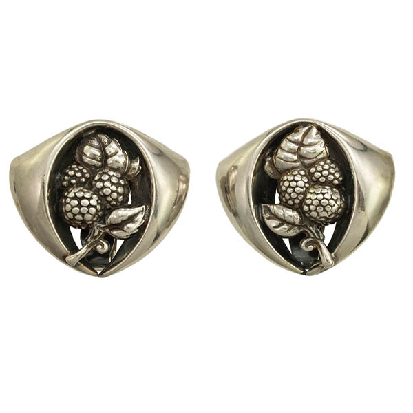 Napier 1950s Earrings with Rounded Triangular Plaque Berry Motif