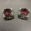 Napier Earrings in Silver tone with Large Amethyst Rhinestone