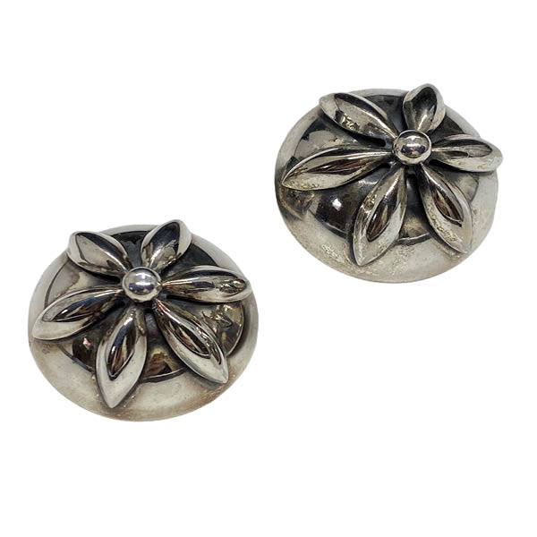 Napier 1950s Silver-Plated Button Earrings with Floral Surmount