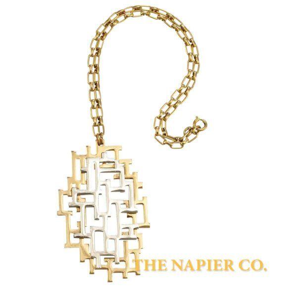 """Vintage Napier 1970S """"Geometric Maze"""" Pendant"""