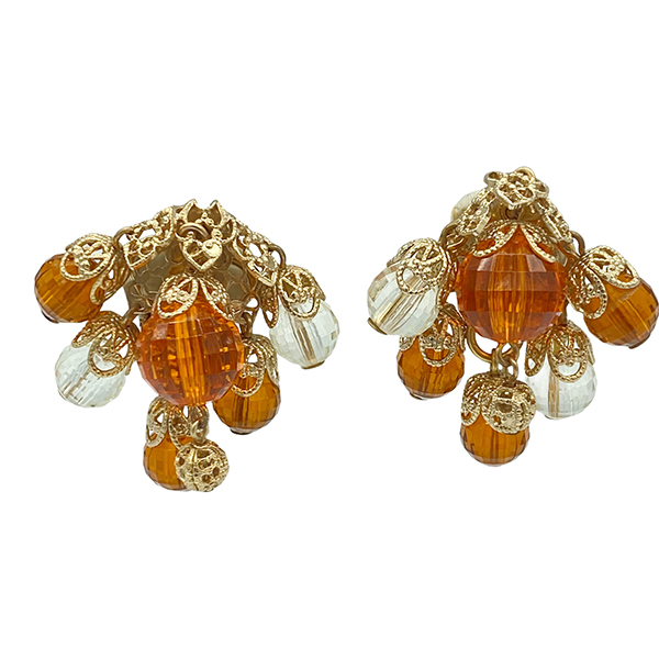 Napier 1950s Amber Color Faceted Resin Bead Earrings