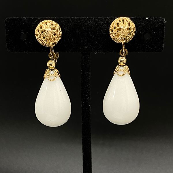 Napier 1960s Pendant Earrings With White Resin Drop