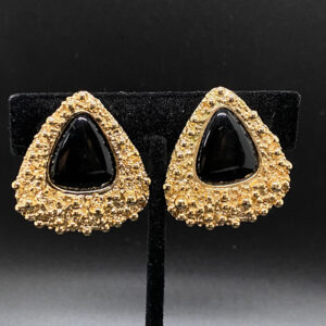 Napier Francis Fujio 1973 Earrings with Textured Surface and Triangular Cabochon