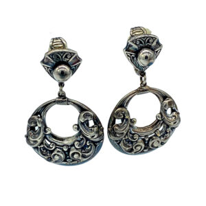 Vintage Napier Earrings with Repousse Metalwork Silver Plated