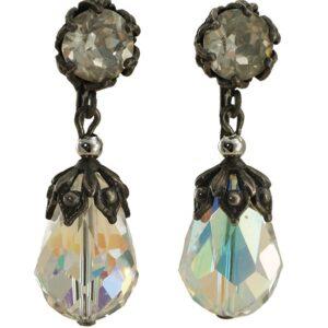 Vintage Napier Crystal Drop Dangle Earrings 1960s